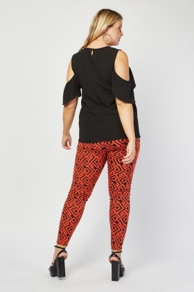 Aztec Pattern Skinny Textured Trousers