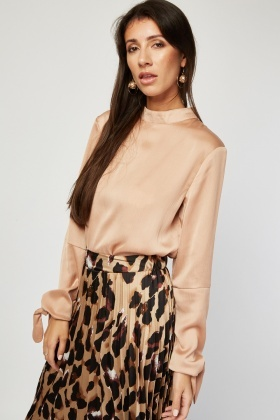 Funnel Neck Sateen Blouse