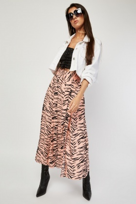 High Waist Tiger Print Midi Skirt