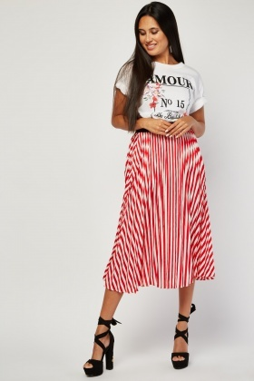 Pleated Stripe Midi Skirt