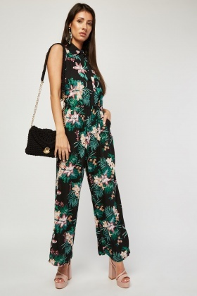 Sleeveless Tropical Print Jumpsuit