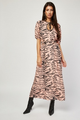Tie Up Front Tiger Print Maxi Dress