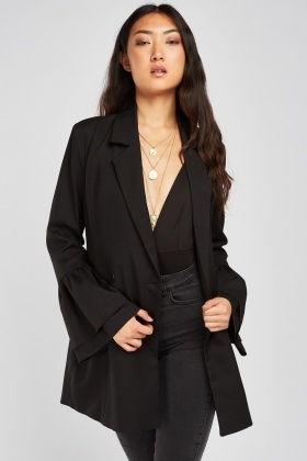 Bell Sleeve Long Line Blazer