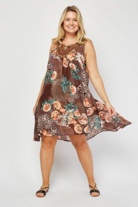 Embellished Sheer Floral Tent Dress