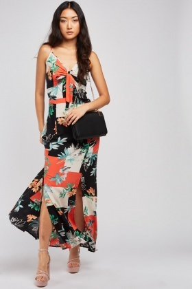 Floral Overlapped Colour Block Dress