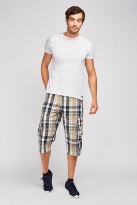 Long Line Checkered Combat Shorts
