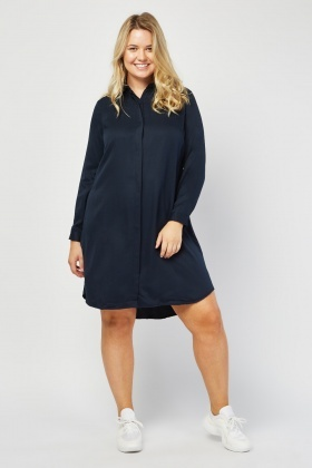 Long Sleeve Navy Shirt Dress