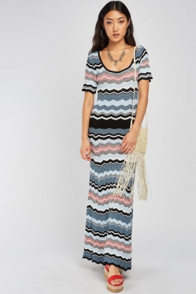 Multi Zig-Zag Maxi Knit Dress