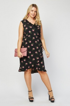 Printed Ruffle Midi Wrap Dress