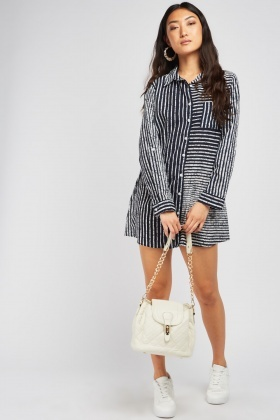 Scattered Stripe Shirt Dress