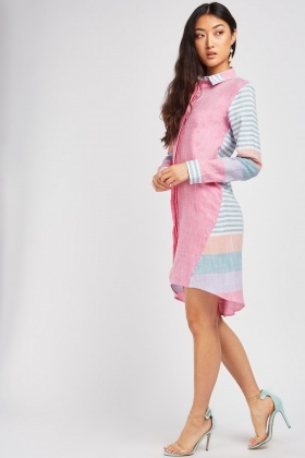 Stripe Colour Block Shirt Dress