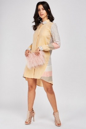 Stripe Contrast Shirt Dress