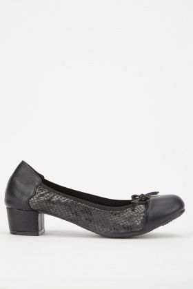 Black Textured Block Heel Ballet Pumps