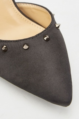 Sateen Studded Ankle Strap Heels