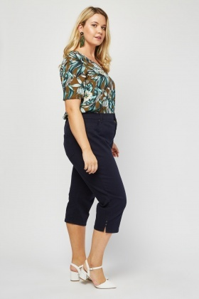 All Around Slimming Effect Crop Trousers