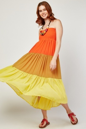 Colour Block Shirred Panel Maxi Dress