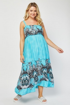 Ethnic Paisley Print Maxi Dress