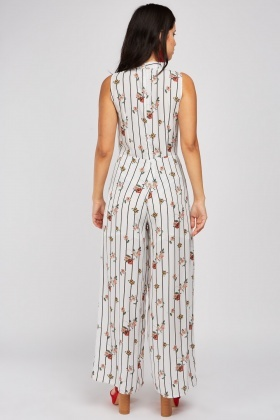 Floral Stripe Flared Jumpsuit