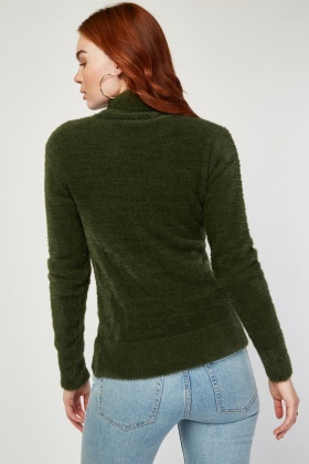 Roll Neck Eyelash Knit Jumper