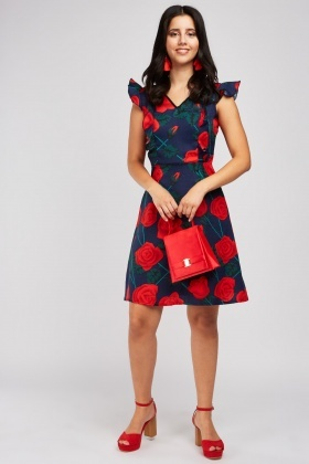 Rose Printed Frilly A-Line Dress