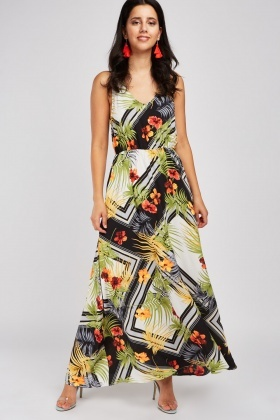Tropical Mix Print Maxi Dress
