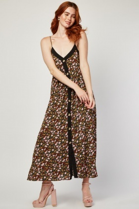 Button Front Floral Ditsy Maxi Dress