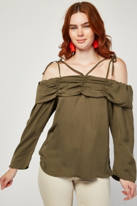 Cold Shoulder Ruched Top