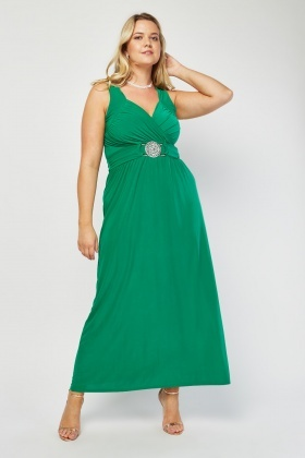 Detail Front Grecian Style Maxi Dress