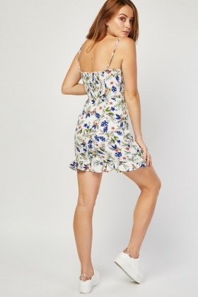 Lace Up Front Floral Mini Dress
