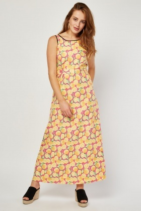 Lemon Printed Maxi Dress