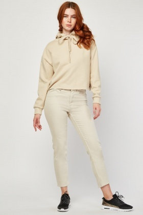 Light Beige Straight Fit Trousers