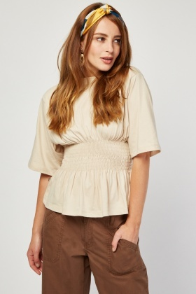 Shirred Waist Panel Top