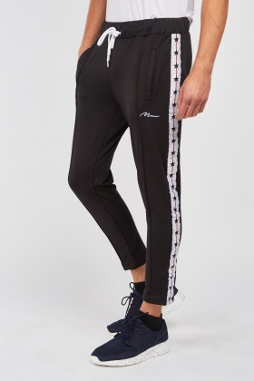 Track Pants With Star Pattern Trim