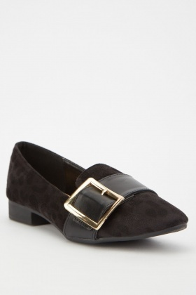 Buckle Front Suedette Shoes