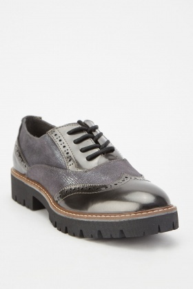 Metallic Lace Up Oxford Shoes