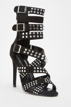 Studded Buckle Strappy Heels