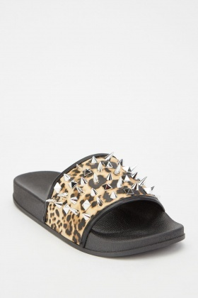 Studded Leopard Print Sliders