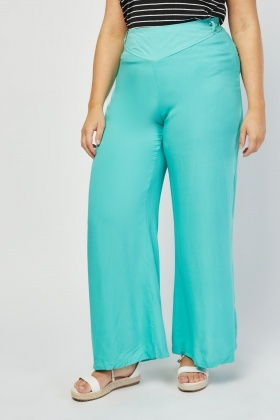 Wide Leg Mint Trousers