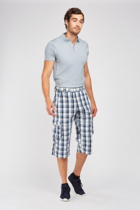Casual Long Line Checkered Shorts