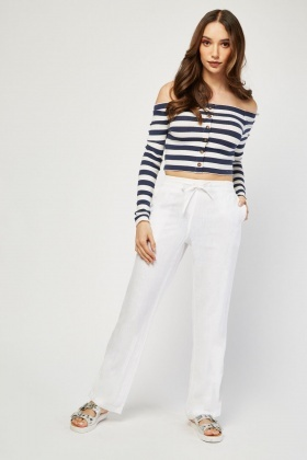 Straight Cut Mix Linen Trousers