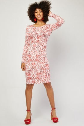 Calico Print Bodycon Dress