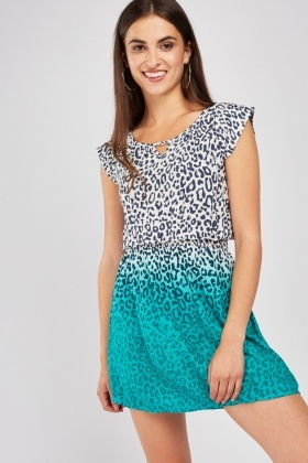 Leopard Print Ombre Dye Dress