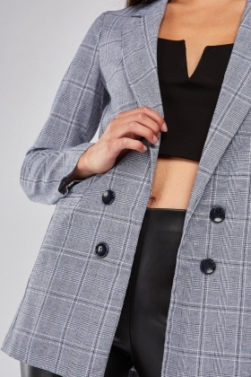 Plaid Lapel Front Blazer