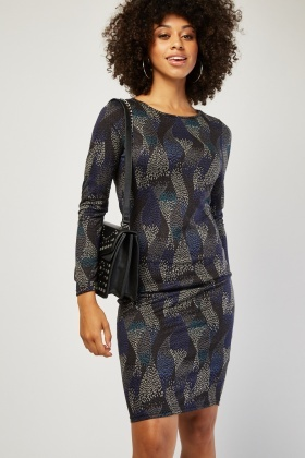 Spiral Lined Pattern Bodycon Dress