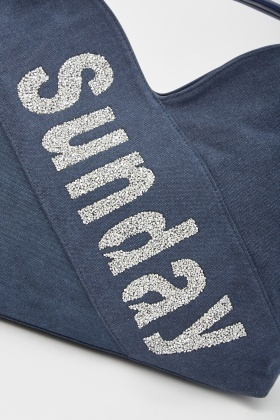 Encrusted Logo Denim Hobo Bag