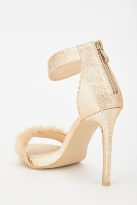 Glittery Ankle Strap Heeled Sandals