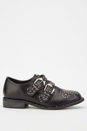 Studded Buckle Faux Leather Shoes