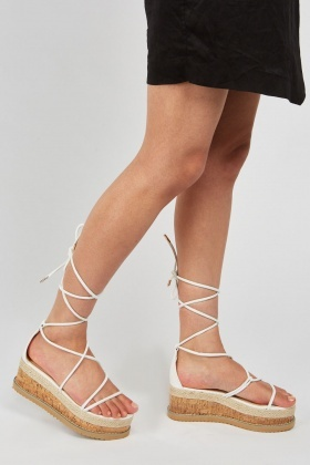 Tie Up Chunky Cork Sole Sandals