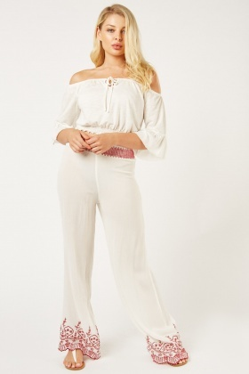 Embroidered Crinkled Trousers