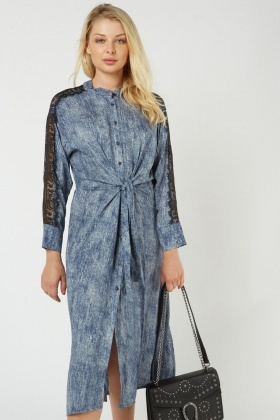 Lace Insert Speckled Midi Dress